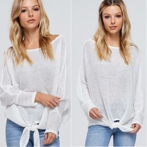 Absolute Must Have Front Tie White Sweater